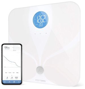Greater Goods WiFi Smart Body Fat Bathroom Scale, Weight Gurus Connected, Backlit LCD, ITO Conductive Surface Technology, Accurate Precision Health A for Sale in Paramount, CA