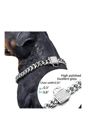 Top Dog Collar White Silver Tone Stainless Steel 14mm Big Dog Luxury Training Collar Cuban Link with Zirconia Lock Necklace Chain Choker for Dog for Sale in Chicago, IL
