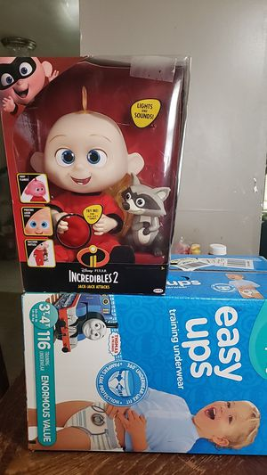 Big box Pampers pull up and a Incredibles jack jack for Sale in Croydon, PA