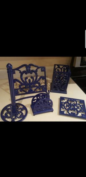 Set of 5 blue metal kitchen accessories for Sale in Surprise, AZ