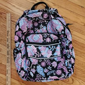 """Vera Bradley Backpack Floral Print Black Purple Pink Quilted 17x13"""" for Sale in Brookfield, IL"""