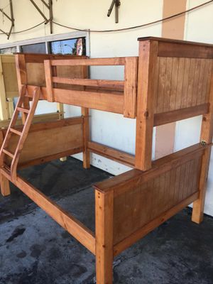 Pinewood Bunkbed Frame Only Twin-full mattress not included for Sale in Bellflower, CA