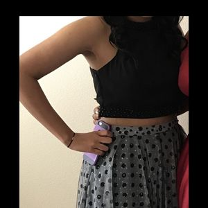 Two Piece Black Polka Dot Prom Dress for Sale in Modesto, CA