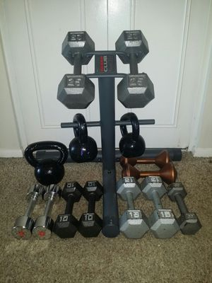 Weider weight stand fordumbbells/weights/kettle bells. Dumbbells 2x25lb, 2x15lb, 2x10lb, 3x8lb, 2x5lb. Kettle bells 15lb, 20lb, 25lb. for Sale in Deerfield Beach, FL