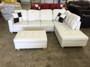 White leather sectional couch and ottoman for Sale in Portland, OR