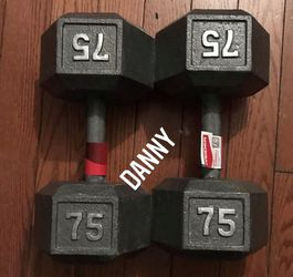 2 NEW Weider Cast Iron Hex 75 lb (pair ) Dumbbell Set | Knurled Grip | 150 lbs (still In 📦) for Sale in Rowland Heights,  CA