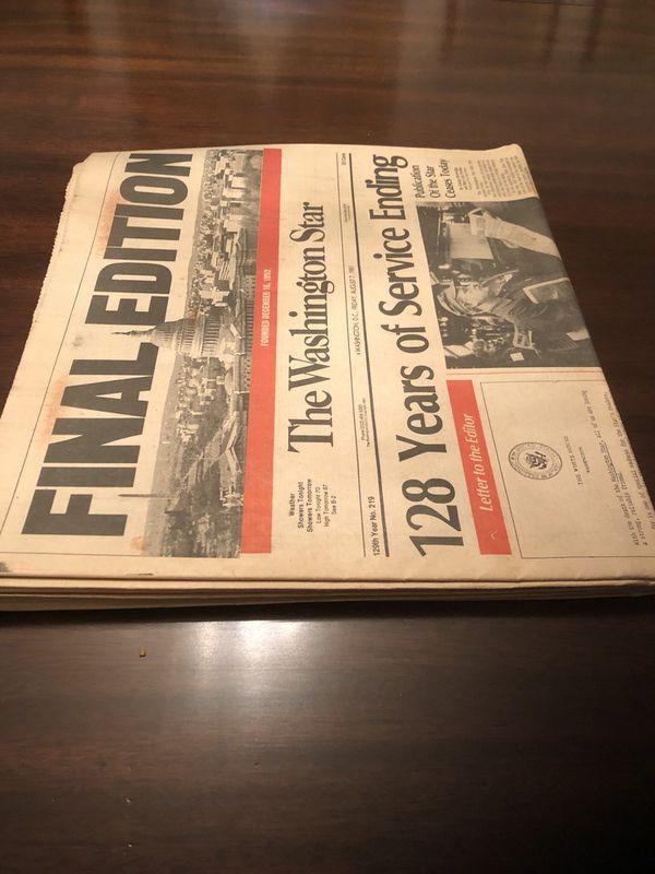 Final Edition Washington Star Newspaper