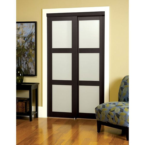 Truporte 48 In. X 80 In. Off White 3-lite Interior Tempered Frosted Glass Closet Door