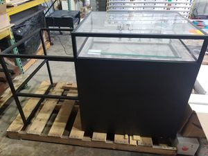 Heavy duty metal and glass display with drawers and glass shelves for Sale in Miami Gardens, FL