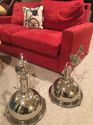 Pair of Chrome Pendant light fixtures for Sale in San Francisco, CA