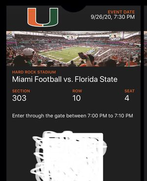 Hurricanes vs FSU tickets and parking for Sale in Cutler Bay, FL