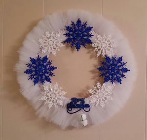 Snowflake Wreath - Bold Blue and White Tulle for Sale in Great Falls, VA
