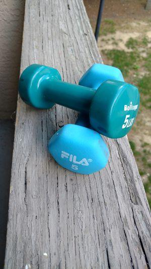Bollinger and Fila 5 lb dumbbell set for Sale in Columbus, OH