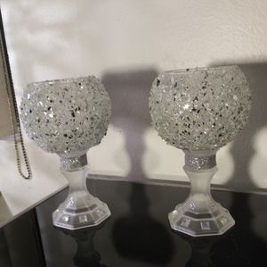 Home Decor Crushed Glass Candle Holders for Sale in Bell, CA