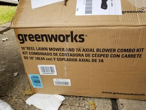 Green works 16 inch Reel Lawn Mower with Grass catcher + 7amp blower combo for Sale in Dallas, TX