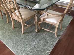 Thomasville Furniture Dining Table and China Hutch Hand Distressed and painted for Sale in High Point, NC