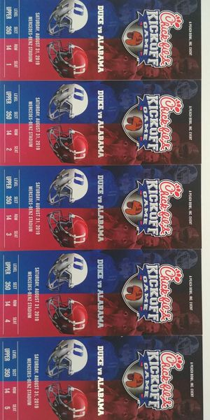 Tickets to Alabama vs Duke this saturday for Sale in Cumming, GA