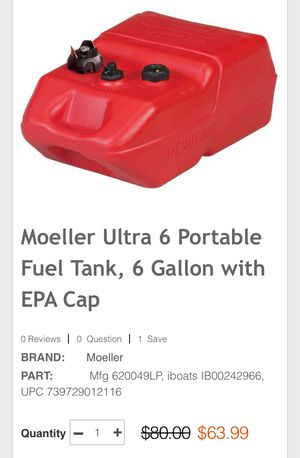 Moeller portable fuel tank for your boat, 6 gallons for Sale in Philadelphia, PA