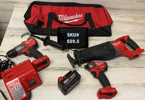 Milwaukee M18 Fuel 3 Tool Kit Hammer Drill Impact Driver Sawzall 5Ah Battery Tool Bag for Sale in Mesa, AZ