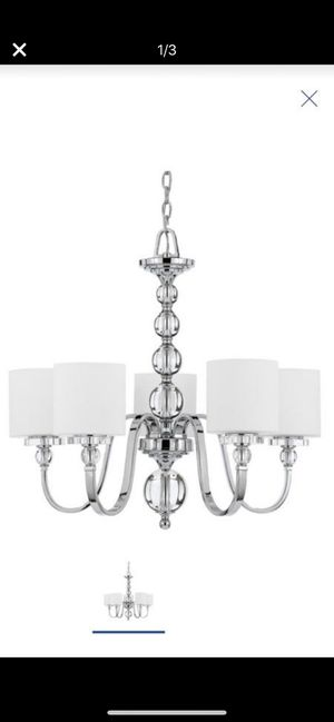 27-in 5-Light Polished Chrome Country Cottage Etched Glass Shaded Chandelier for Sale in Rollingwood, TX