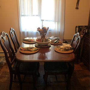 Antique Table & Antique China Cabinet Plus 6 Chairs for Sale in Hackensack, NJ