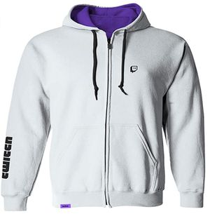 Twitch Logo Zip-Up Long Sleeve Hoodie Jacket with Drawstrings - Ice - Size M for Sale in Rosemead, CA