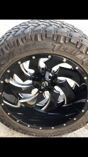 FUEL 24x14 Rims and Nitto Tires 6 Lug Universal Wheels 24s Ford Chevy 24 inch 6 Lug Universal Bolt pattern will Fit Ford F150 , Chevy Silverado, GMC for Sale in Dallas, TX