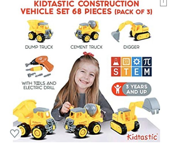 Construction Vehicles, STEM Learning (Set 68 Piece) Take Apart Fun (Pack of 3), Dump Truck, Cement Truck & Digger | with Tools and Electric Drill | G