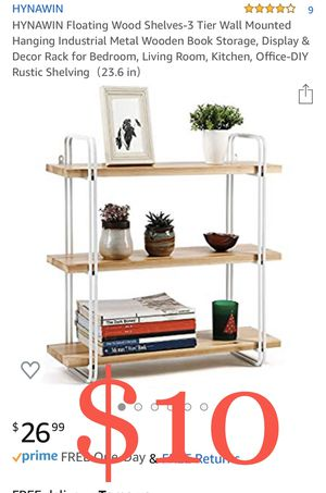 HYNAWIN Floating Wood Shelves-3 Tier Wall Mounted Hanging Industrial Metal Wooden Book Storage, Display & Decor Rack for Bedroom, Living Room, Kitche for Sale in Ontario, CA