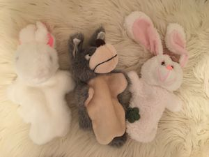 Hand Puppets- mommy and baby bunny+ wolf for Sale in Raleigh, NC