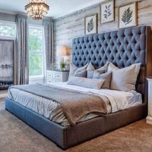 """(New In Boxes) Queen Size Gray 71"""" High Tuft Button Fabric Bed Frame***NO OTHER ITEMS INCLUDED for Sale in Atlanta, GA"""