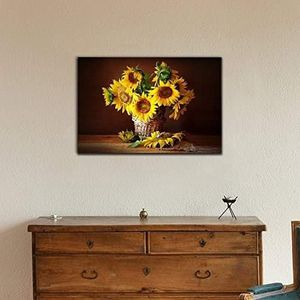 ((FREE SHIPPING)) canvas wall art - still life with sunflower and butterfly modern home decor Painting like print for Sale in Westminster, CA