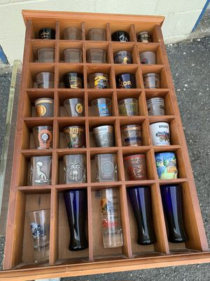 Shot Glass Display Rack With Shot Glass Collection for Sale in Washougal, WA