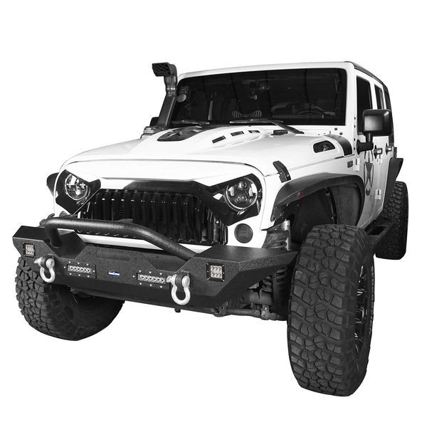 Steel offroad Front Bumper for 07-18 Jeep Wrangler JK & Unlimited w/Winch Plate & 4X LED Lights