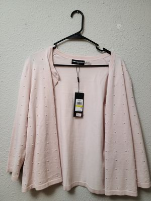 Karl Lagerfeld pink cardigan with white pearl accents (tags attached) for Sale in Columbia, MD