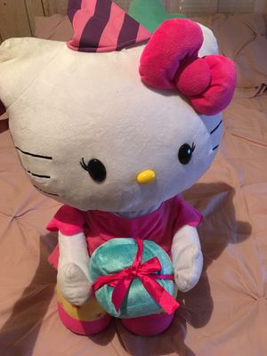 Large birthday themed hello kitty plush for Sale in Houston, TX