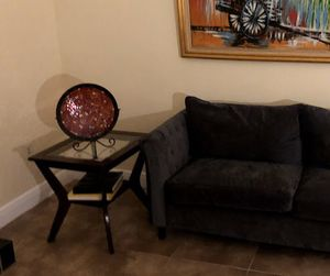 Two Dark Wood Side Tables with Glass Top for Sale in Miami, FL