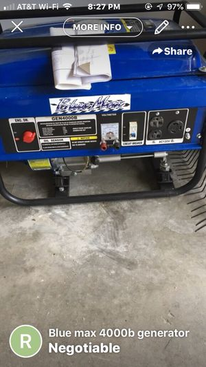 Blue max generator. 175.00 runs good, has gas leak at bulb gasket for Sale in Henderson, KY