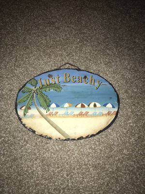 """Just Beachy"" beach scene on stone hanging home decor for Sale in Kent, OH"