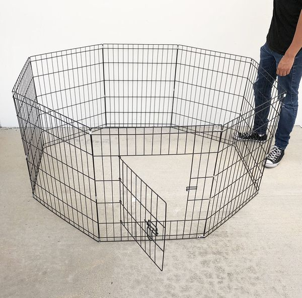 """New $30 Foldable 30"""" Tall x 24"""" Wide x 8-Panel Pet Playpen Dog Crate Metal Fence Exercise Cage Play Pen"""