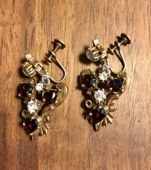 """Vintage """"ruby and diamond"""" earrings set for Sale in Peoria, AZ"""