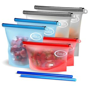 All Prime Reusable Silicone Food Storage Bags – 6 Pack Zip Top Containers + 2 Free Silicone Straws Reusable Silicone Food Bags for Sale in Orlando, FL