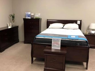 Louis Philip Cherry Sleigh Bedroom Set (Twin,Full,Queen and King size bed option for Sale in Austin,  TX