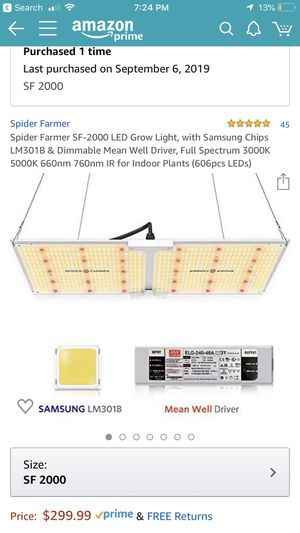 Spider Farm SF2000 Quantum Board LED grow light for Sale in Miami, FL