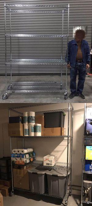New in box 7.5 feet tall 24x60x90 inches tall 1000 lbs capacity heavy duty pantry garage storage shelf organizer rack with heavy duty locking wheels for Sale in Los Angeles, CA