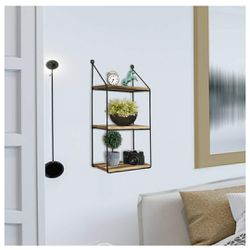 3 Tier Wall Mounted Floating Shelves, Home Decor, Metal Wire and Rustic Wood Wall Storage for Sale in Los Angeles,  CA