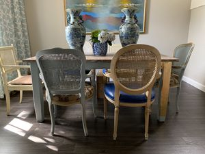 Farm style dining table with antique chairs for Sale in Miami, FL