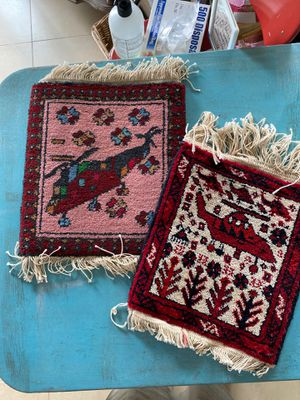 """2 small rug tapestries wool handmade middle eastern design helicopters,red burgundy, knotted rugs 12 x11"""", 13 x 12"""" for Sale in West Palm Beach, FL"""