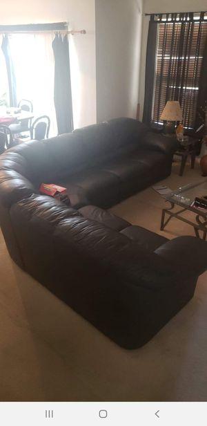 Italian leather sectional/ Grey-ish Black (fairly new) for Sale in Woodbridge, VA