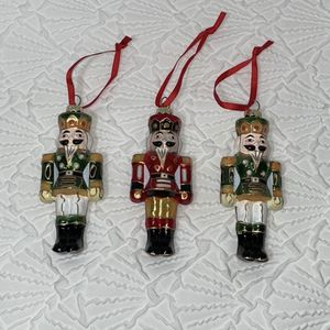 Set of 3 Nutcracker General Glass Ornaments 2 Green 1 Red Measurements included! for Sale in Sparks, NV